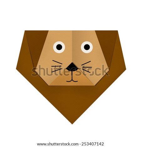 origami paper a lion (face) - stock photo