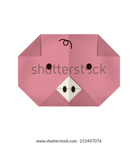 origami paper a pig (face) - stock photo