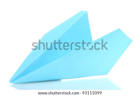 Origami paper airplane isolated on white - stock photo