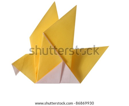 origami paper bird on the white background