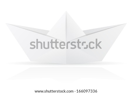 origami paper boat illustration isolated on white background