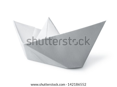 origami paper boat isolated on white background - stock photo