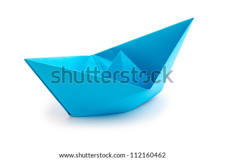 Origami paper boat on white background