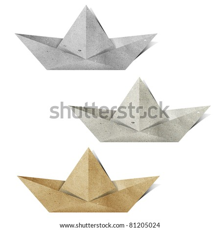 origami paper boat recycled paper craft stick on white background - stock photo
