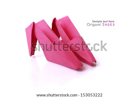 Origami paper comic woman cartoon pink fastion shoes on a white background - stock photo