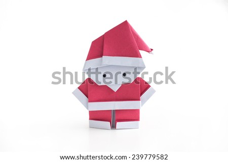 Origami paper craft Santa Claus isolated on white background - stock photo