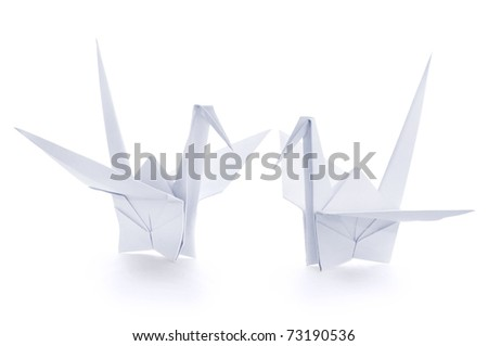 Origami paper crane - stock photo