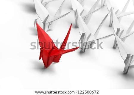 Origami,paper crane on white background. - stock photo