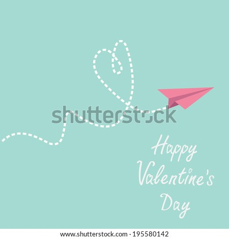 Origami paper plane. Dash heart in the sky. Happy Valentines day card. Rasterized copy - stock photo