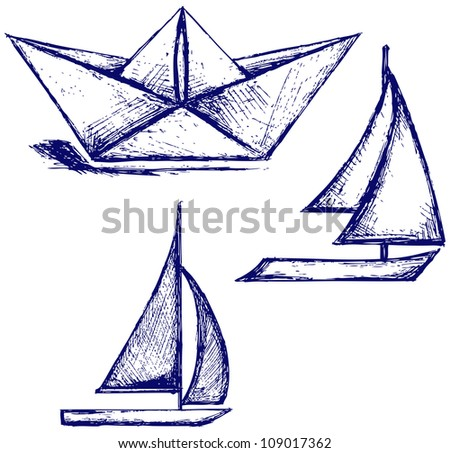 Origami paper ship and sailboat sailing. Raster