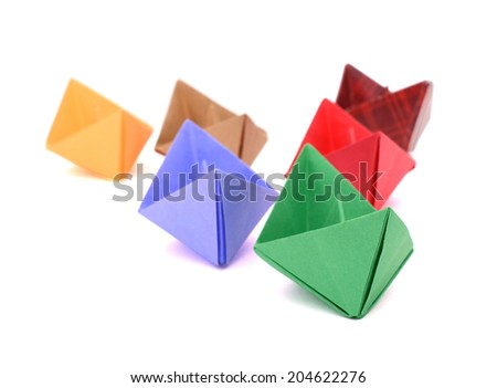Origami paper ships  - stock photo