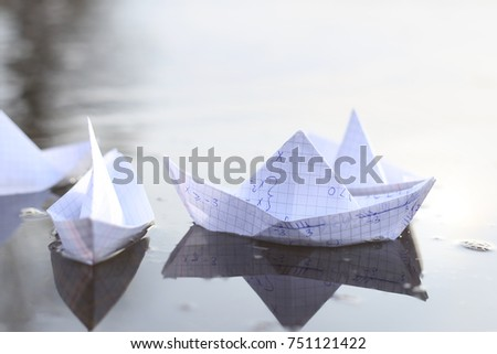 Origami Paper Ships Sailing River Paper Stock Photo Royalty Free