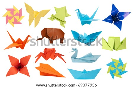 Origami paper toys collection isolated on white background