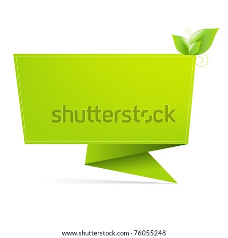 Origami Paper With Leaf, Isolated On White Background - stock photo