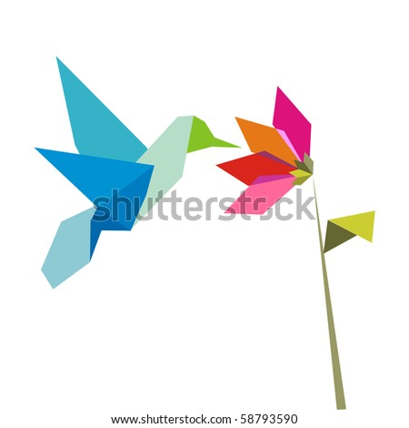 Origami pastel colors hummingbird and flower on white background. - stock photo