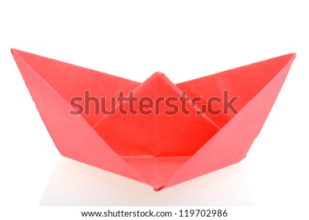 Origami red boat