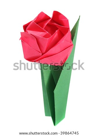 Origami rose over white - stock photo