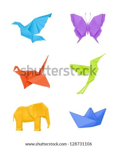 Origami set, multicolored bitmap copy - stock photo