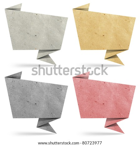 origami tag recycled paper craft stick on white background - stock photo