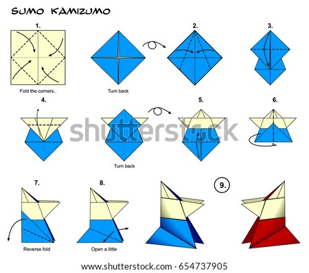 Origami Traditional Sumo Wrestler Diagram Instructions Steps