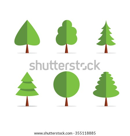 Origami Tree Template Icons In Green Colors With Shadow Paper Flat Trees Label Ribbon