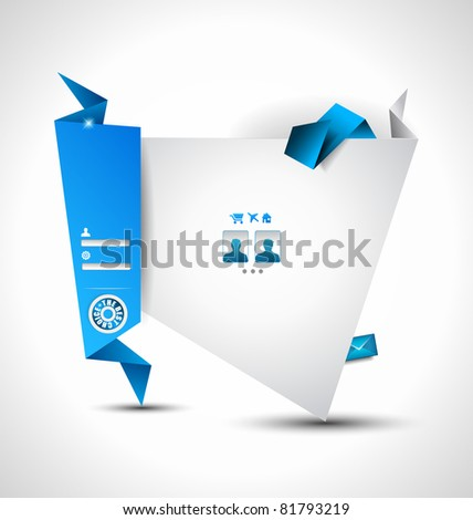 Origami Website - Elegant Design for Business Presentations. Template with a lot of design elements. Every Shadow is transparent - stock photo