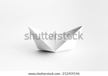 Origami White Paper Boat on White Background
