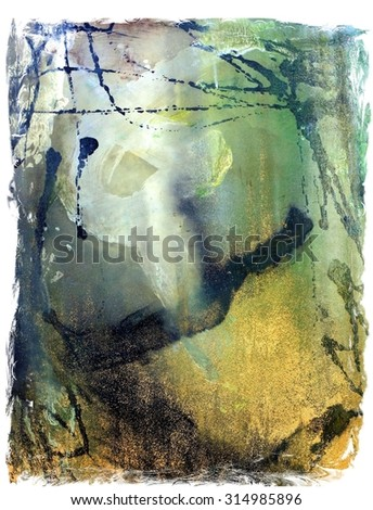 Original Abstract Drip Splatter Painting in Green and Metallic Gold - stock photo