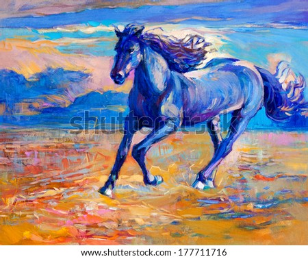 Original abstract oil painting of a beautiful blue horse running.Modern Impressionism.Painting is related to year 2014-year of the blue horse - stock photo
