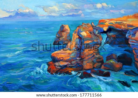 Original abstract oil painting of cliffs and ocean on canvas.Modern Impressionism - stock photo