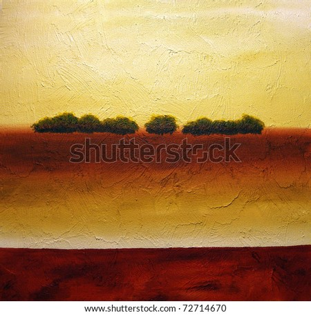 Original acrylic abstract painting of small group of trees on hill - stock photo