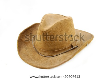 Original american leather cowboy hat isolated on white - stock photo