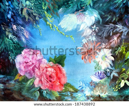 original art, acrylic painting of undersea garden with roses - stock photo