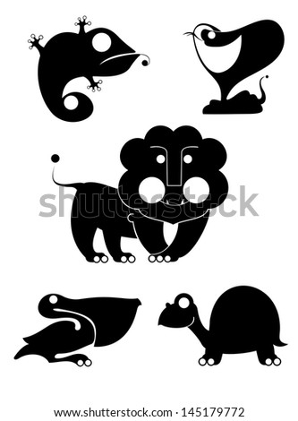 original art animal silhouettes collection for design - stock photo