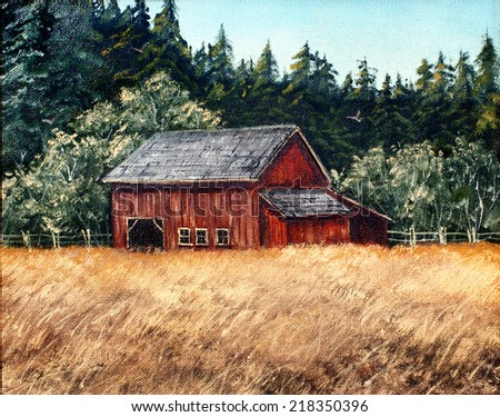 original art, barn with field and flying bird - stock photo