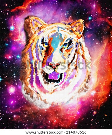 original art, mixed media painting of celestial tiger - stock photo