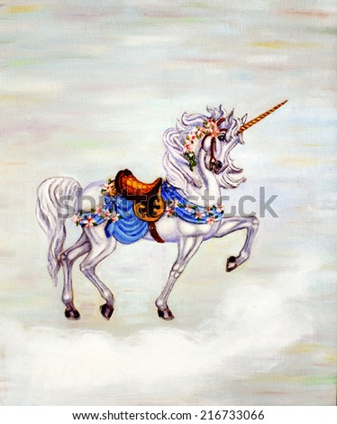 original art, painting of unicorn on cloud - stock photo