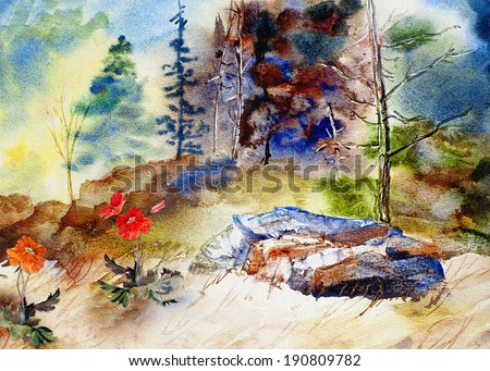 original art, watercolor landscape painting on canvass - stock photo