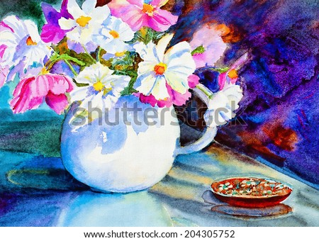 original art, watercolor on canvas of pitcher filled with cosmos flowers - stock photo