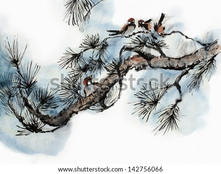 original art, watercolor painting of birds on pine branch, traditional chinese style - stock photo