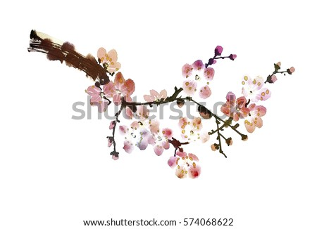 original art, watercolor painting of blossoming branch, oriental style
