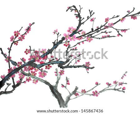original art, watercolor painting of blossoming plum tree, traditional Chinese style painting - stock photo