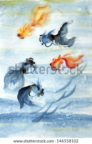 original art, watercolor painting of fancy koi goldfish - stock photo