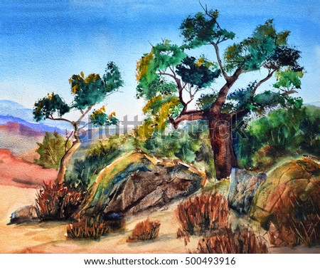 original art, watercolor painting of landscape in American West