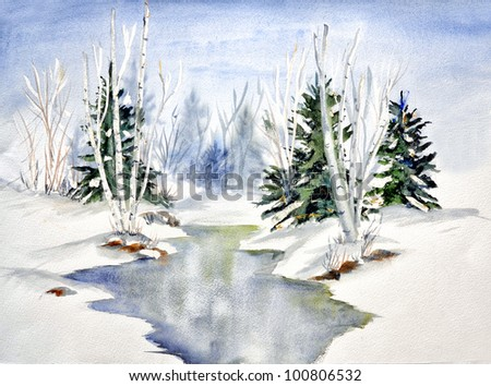 original art, watercolor painting of river in winter with evergreen trees and birches