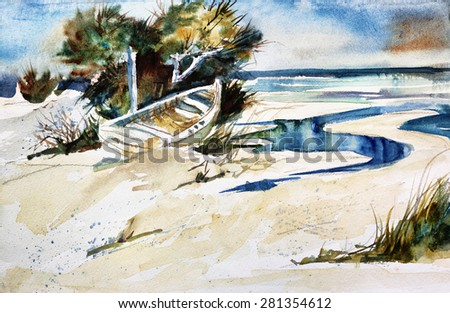 Original art, watercolor painting of small boat and shore - stock photo