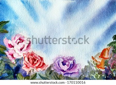 original art, watercolor painting of underwater roses - stock photo