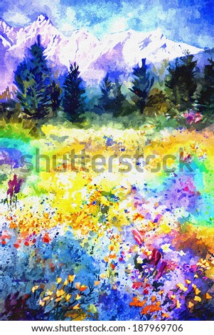 original art, watercolor painting of wildflower meadow with mountain background - stock photo