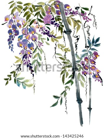 original art, watercolor painting of wisteria, Asian style - stock photo