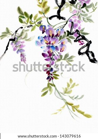 original art, watercolor painting of wisteria blossoms, Asian style painting - stock photo
